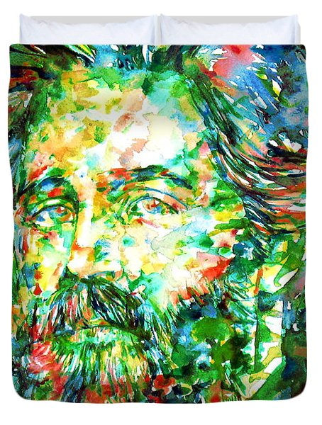 Herman Melville Watercolor Portrait Duvet Cover by Fabrizio Cassetta