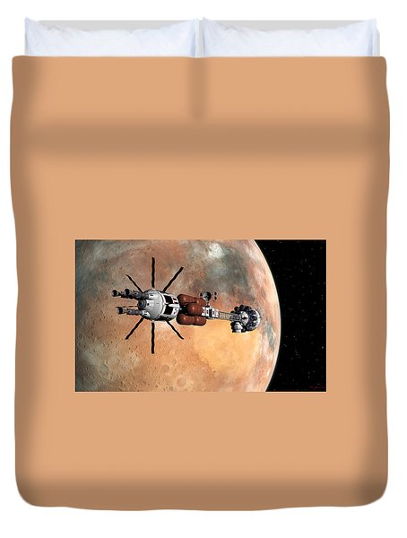 Duvet Cover featuring the digital art Hermes1 Mars Insertion Part 1 by David Robinson