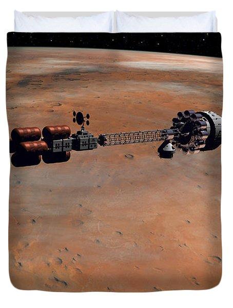 Hermes1 Orbiting Mars Duvet Cover