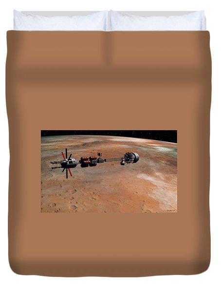 Duvet Cover featuring the digital art Hermes1 Orbiting Mars by David Robinson
