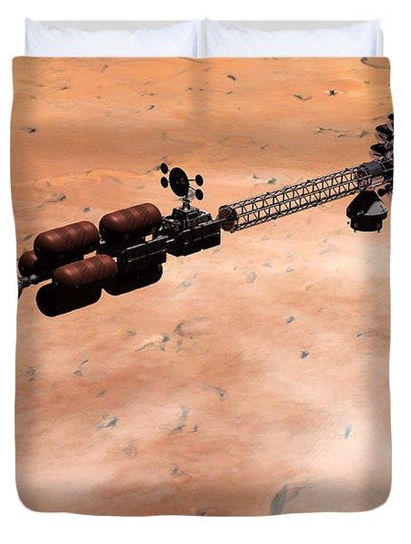 Hermes1 Over Mars Duvet Cover