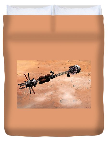 Duvet Cover featuring the digital art Hermes1 Over Mars by David Robinson