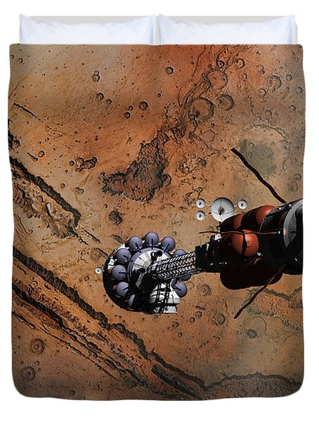 Hermes1 With The Mars Lander Ares1 In Sight Duvet Cover
