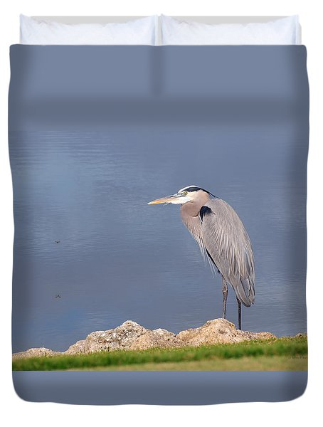 Heron And Pond Duvet Cover by Kenny Francis