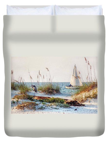 Heron And Sailboat Duvet Cover by Michael Thomas
