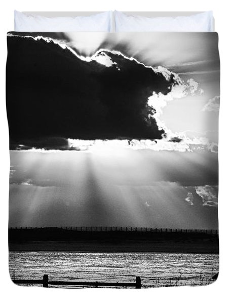 Duvet Cover featuring the photograph Heron And  The Cloudburst by Michael Thomas
