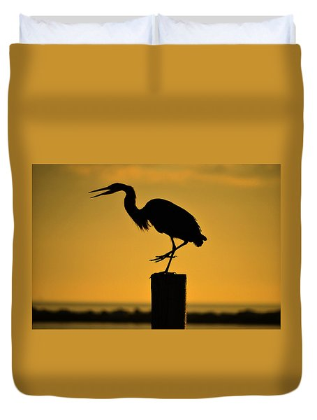 Heron At Sunrise Duvet Cover