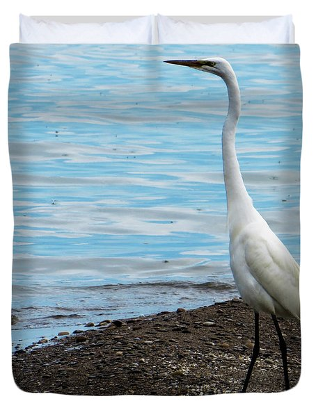 Heron By The Beach Duvet Cover