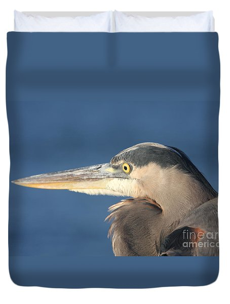 Duvet Cover featuring the photograph Heron Close-up by Christiane Schulze Art And Photography