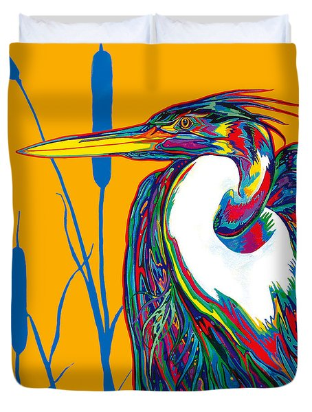Heron Duvet Cover by Derrick Higgins