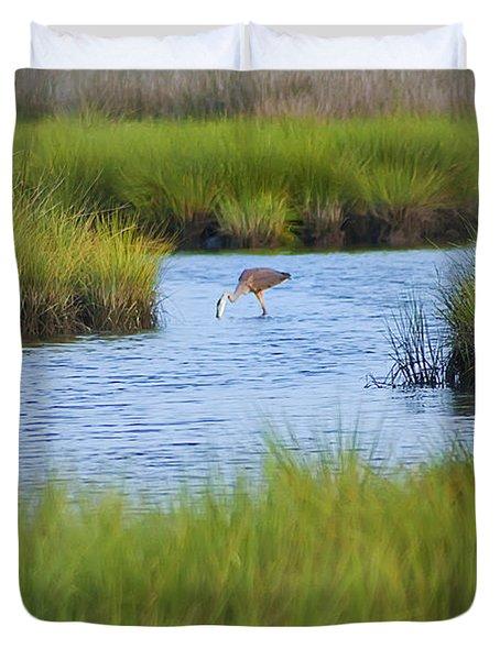 Heron In A Salt Marsh Duvet Cover