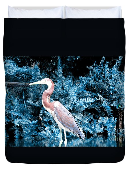 Heron In Blue Duvet Cover