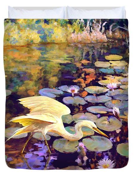 Duvet Cover featuring the painting Heron In Lily Pond by David  Van Hulst