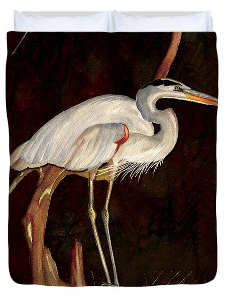 Heron In Tree Duvet Cover