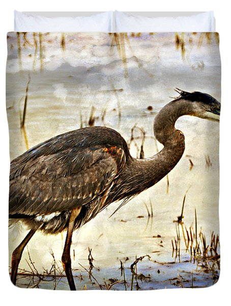 Heron On A Cloudy Day Duvet Cover by Marty Koch