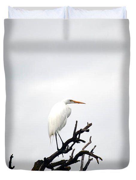 Heron On A Dead Tree Duvet Cover
