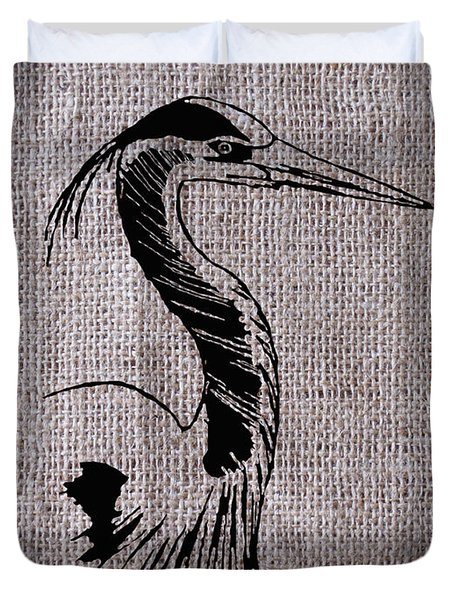 Heron On Burlap Duvet Cover