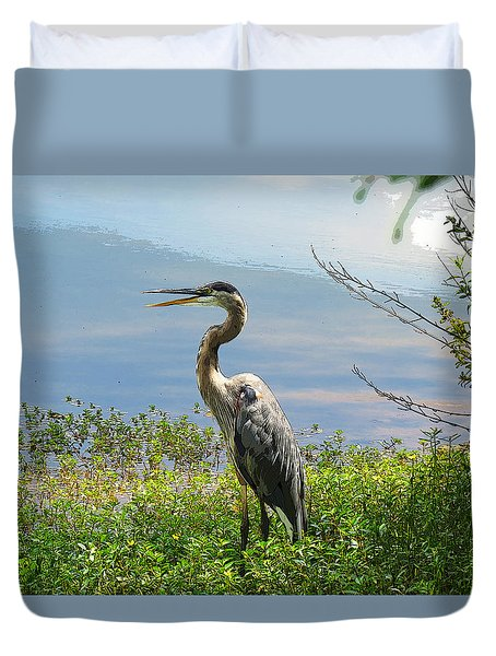Heron On Lake Duvet Cover