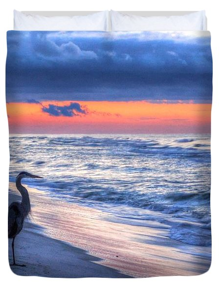 Heron On Mobile Beach Duvet Cover by Michael Thomas