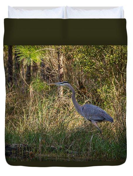 Heron On The Hunt Duvet Cover