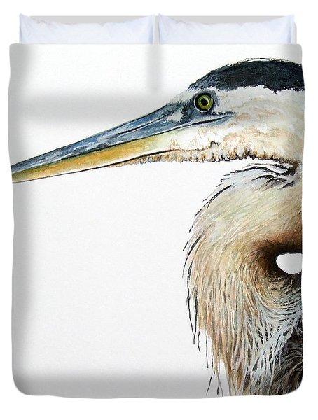 Heron Study Square Format Duvet Cover