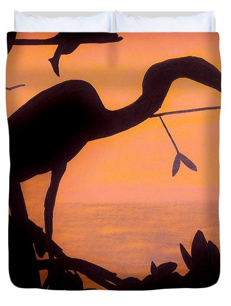 Duvet Cover featuring the drawing Heron Sunset by D Hackett
