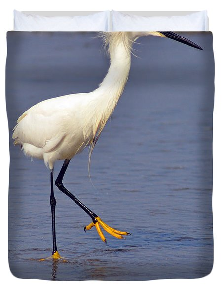 Duvet Cover featuring the photograph Heron Walking by Debby Pueschel