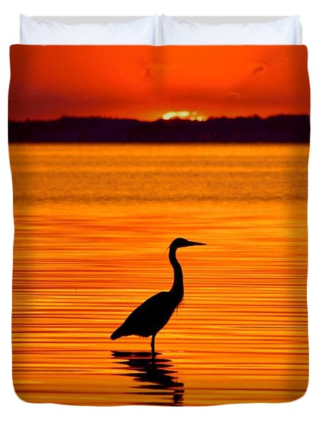 Heron With Burnt Sienna Sunset Duvet Cover