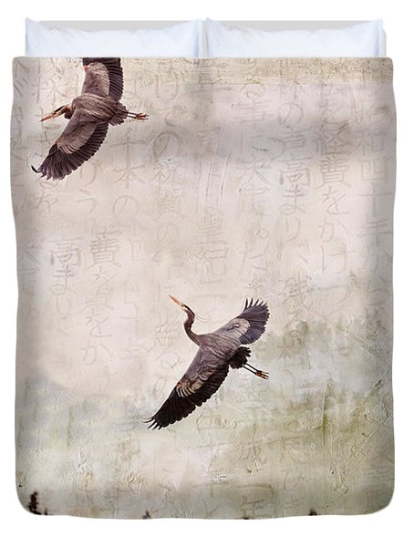 Duvet Cover featuring the photograph Herons In Flight Monotone by Peggy Collins
