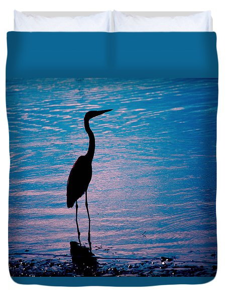Herons Moment Duvet Cover by Karol Livote