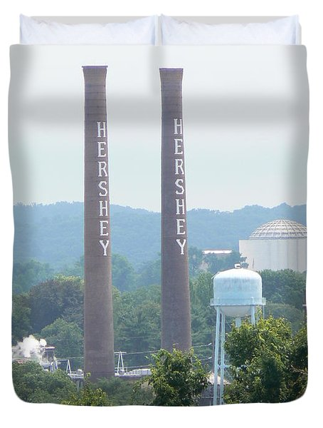 Duvet Cover featuring the photograph Hershey Smoke Stacks by Michael Porchik