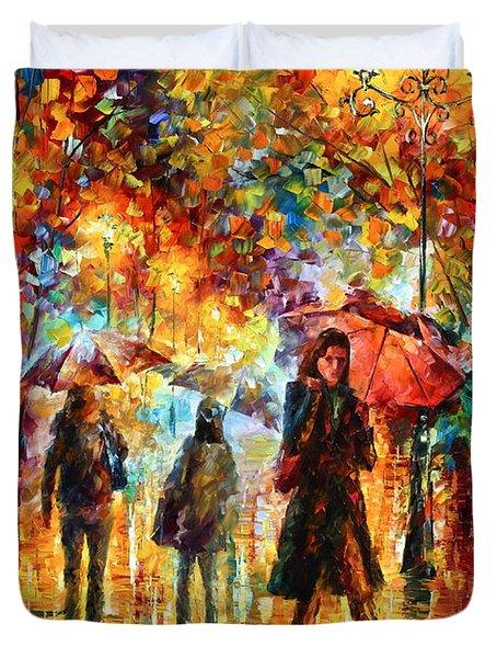 Hesitation Of The Rain Duvet Cover by Leonid Afremov