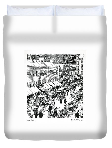 Duvet Cover featuring the drawing Hester Street by Ira Shander
