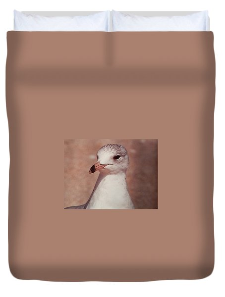 Duvet Cover featuring the photograph Beach Gull On The Hunt by Belinda Lee