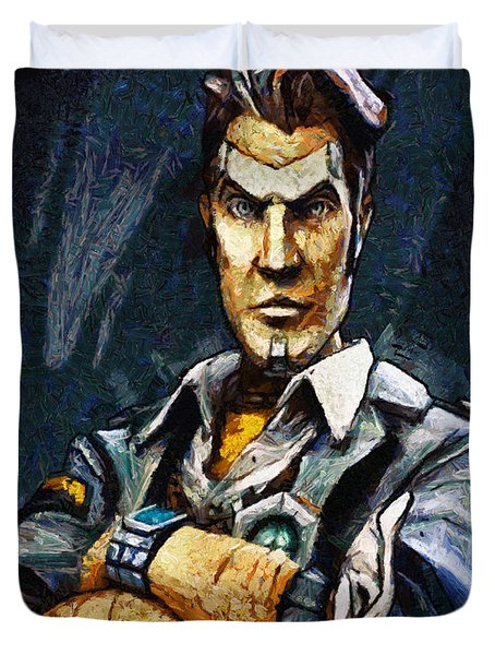 Hey Vault Hunter Handsome Jack Here Duvet Cover by Joe Misrasi