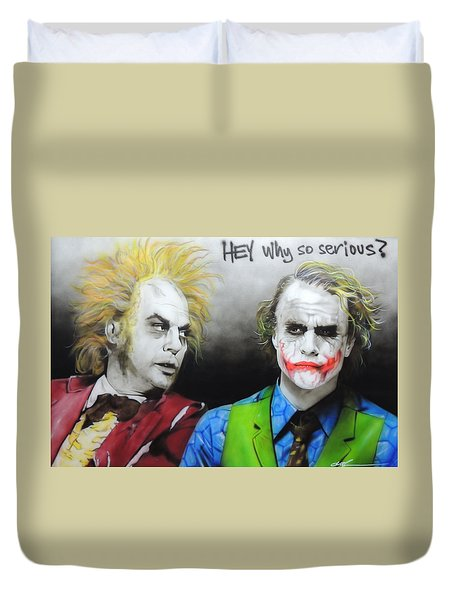 Health Ledger - ' Hey Why So Serious? ' Duvet Cover by Christian Chapman Art