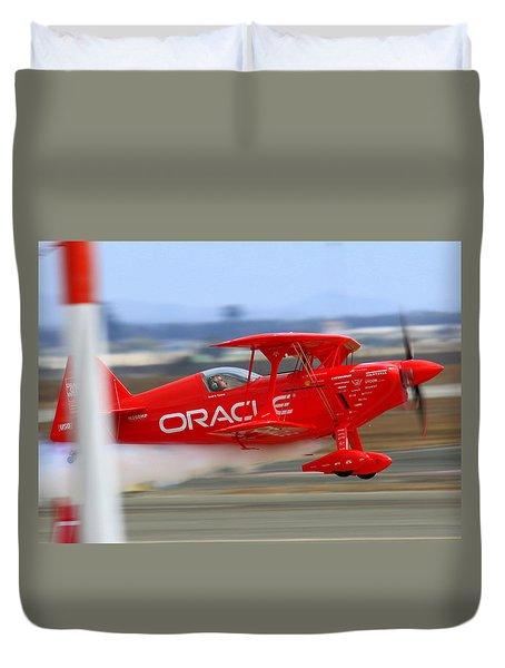 Hi Speed Low Pass By Sean Tucker At Salinas Ksns Air Show Duvet Cover