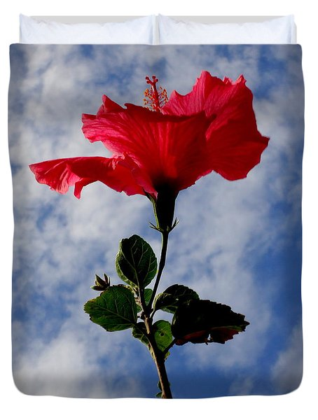 Hibiscus In The Sky Duvet Cover
