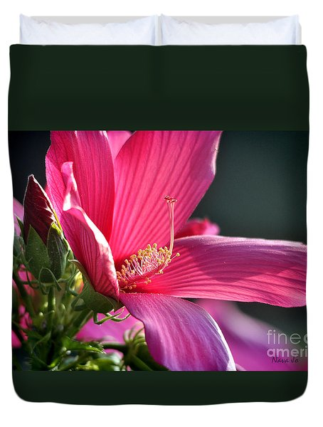 Duvet Cover featuring the photograph Hibiscus Morning Bright by Nava Thompson