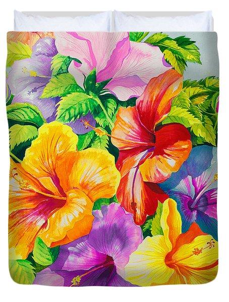 Hibiscus Rainbow Array Duvet Cover