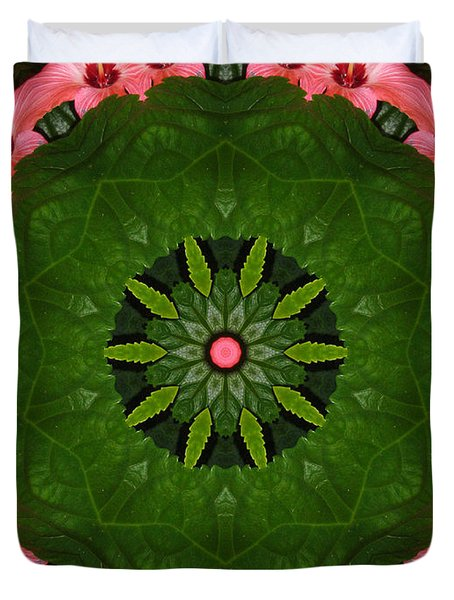 Duvet Cover featuring the digital art Hibiscus Reflection Design by Oksana Semenchenko