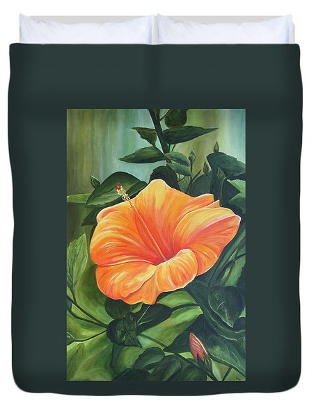 Hibiscus - Tangerine Duvet Cover by Lyndsey Hatchwell