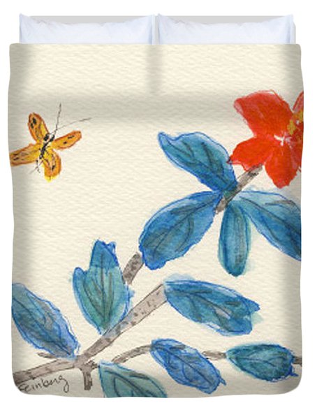 Duvet Cover featuring the painting Hibiscus With Butterfly by Linda Feinberg