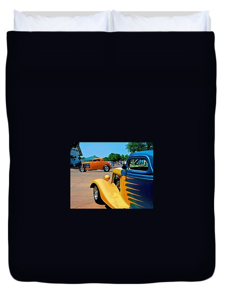 Duvet Cover featuring the photograph Hiboy Over Fender Custom by Christopher McKenzie