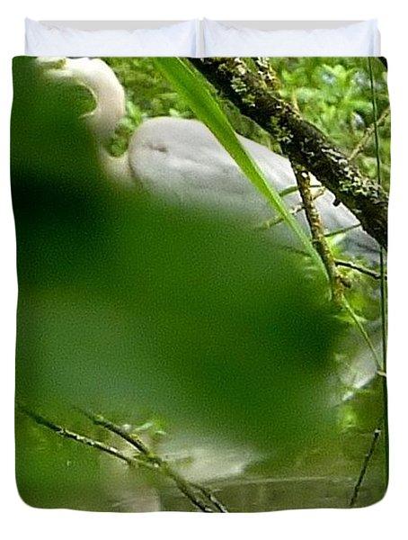 Duvet Cover featuring the photograph Hidden Bird White by Susan Garren