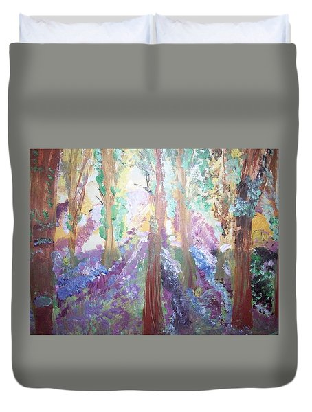 Duvet Cover featuring the painting Hidden Forest Fairies by Judith Desrosiers