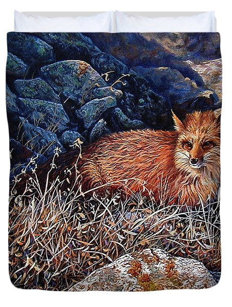 Duvet Cover featuring the painting Hide And Seek by Craig T Burgwardt