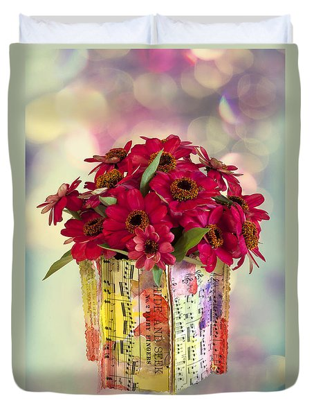Duvet Cover featuring the photograph Hide And Seek Zinnias by Sandra Foster