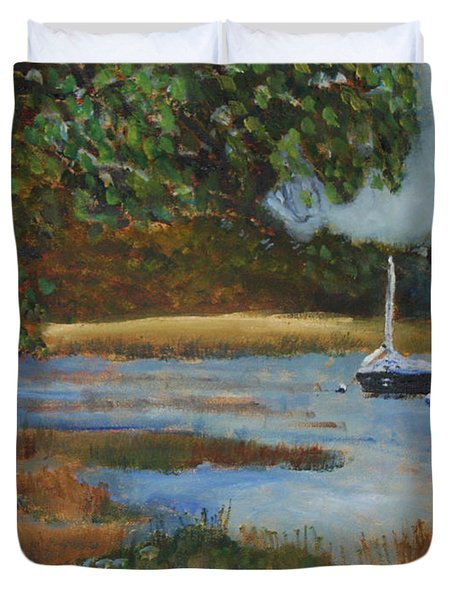 Duvet Cover featuring the painting Hospital Cove by Michael Helfen