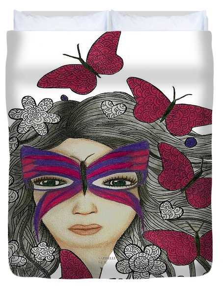 Hiding Me Pencil Drawing By Saribelle Rodriguez Duvet Cover by Saribelle Rodriguez